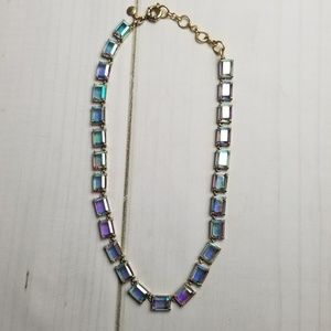 J. Crew Aurora Borealis Emerald Cut Necklace